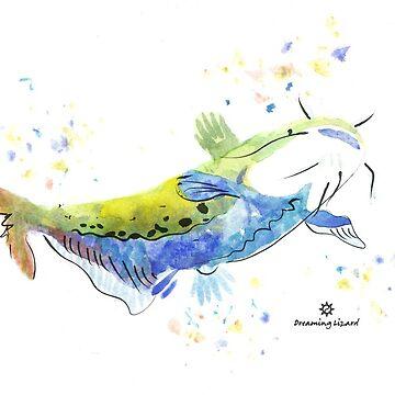 Catfish, watercolour by DreamingLizard