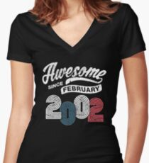 Awesome Since February 2002 Shirt Vintage 16th Birthday Womens Fitted V Neck T