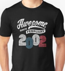 Awesome Since February 2002 Shirt Vintage 16th Birthday Unisex T