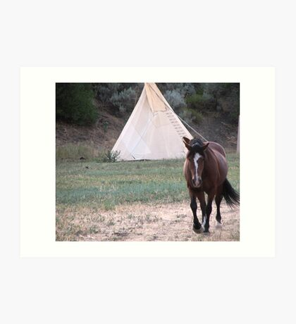 1850s Walking into American Indian Village Art Print