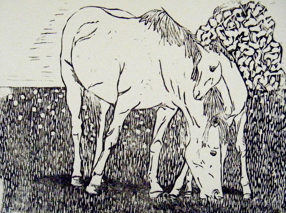 Mare and Foal I by Alexandra Felgate