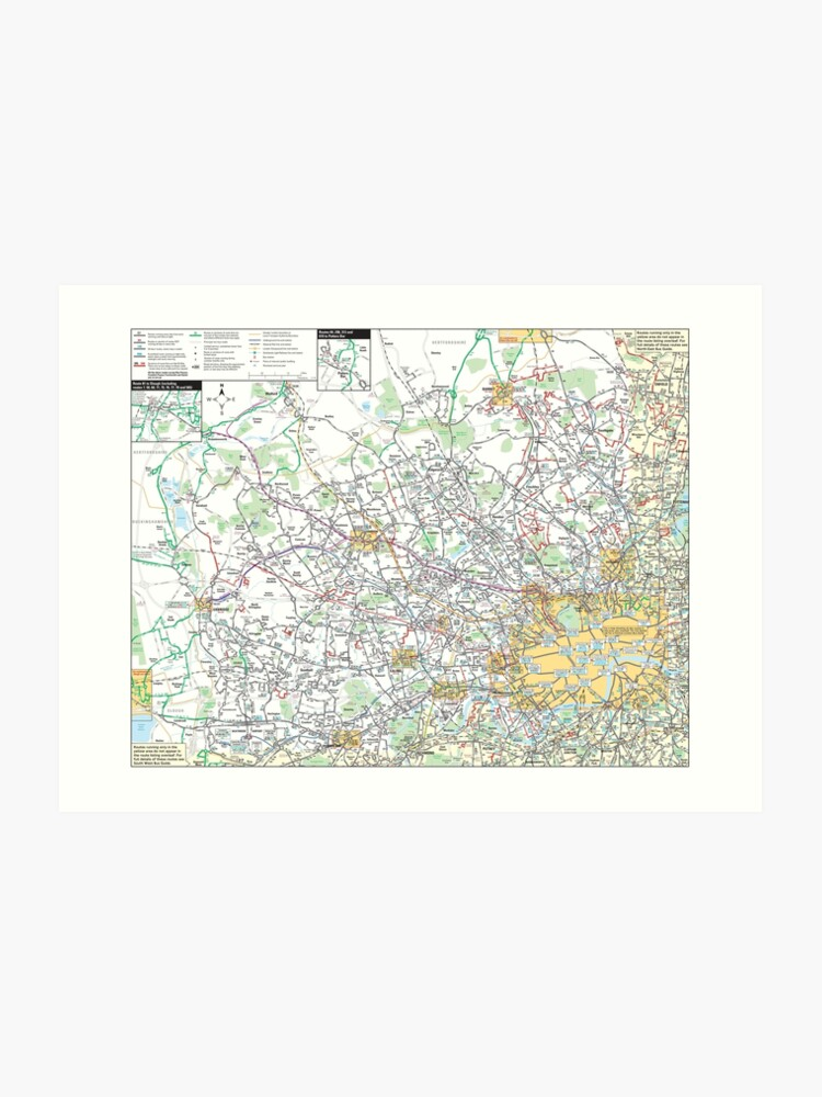 Map North West London.North West London Bus Map Hd England Art Print