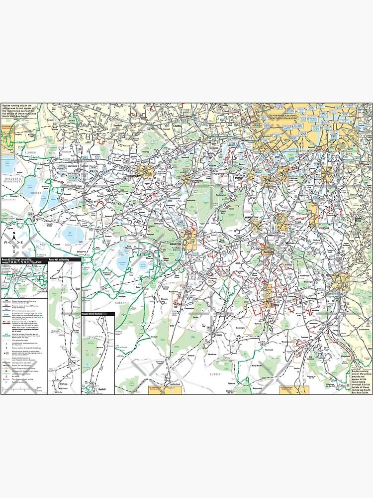 South West London Map.South West London Bus Map Hd England Canvas Print