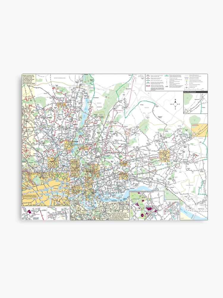 Map Of North East London.North East London Bus Map Hd England Metal Print
