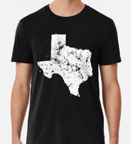 Vintage State Map Silhouette of Texas (White) Premium T-Shirt