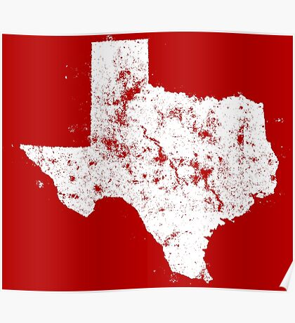 Vintage State Map Silhouette of Texas (White) Poster