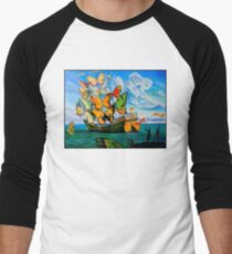 BUTTERFLY SHIP : Vintage Dali Abstract Painting Print Baseball ¾ Sleeve T-Shirt
