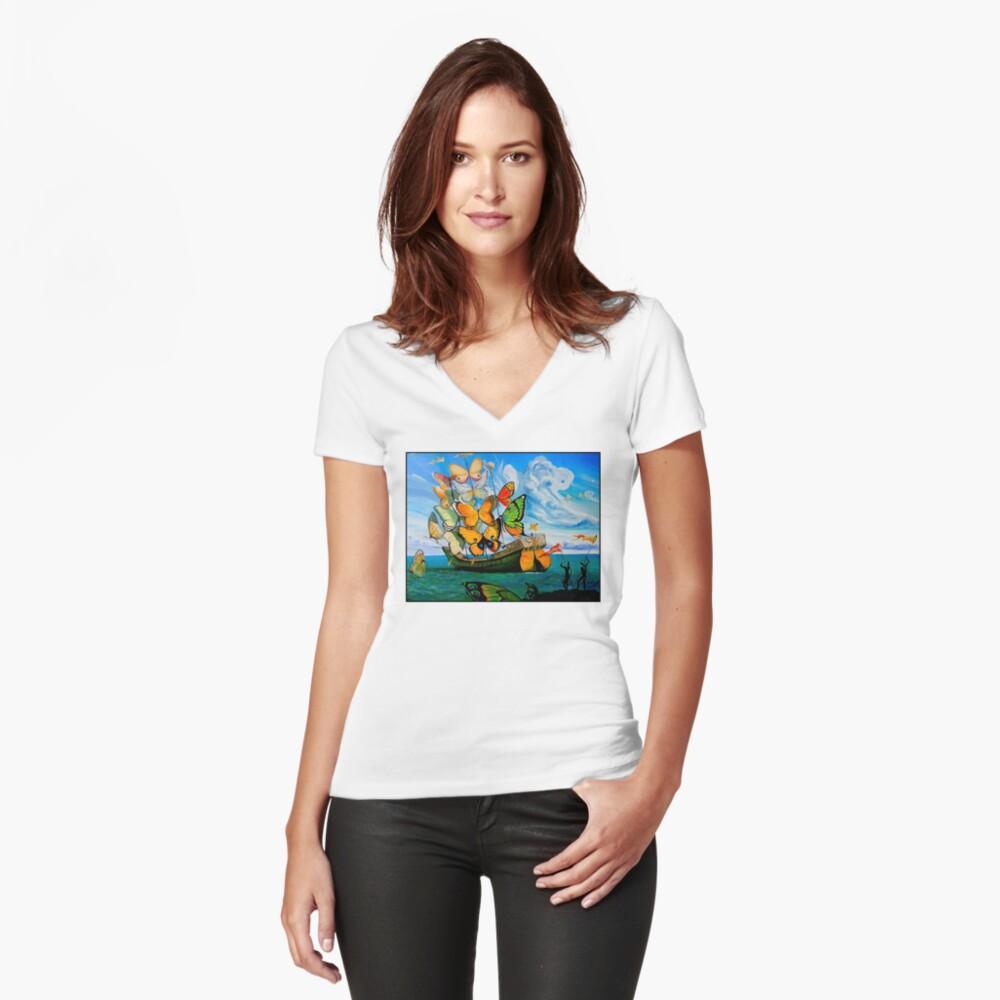 SCHMETTERLING LIEFERUNG: Vintage Dali abstrakte Malerei drucken Shirt mit V-Ausschnitt