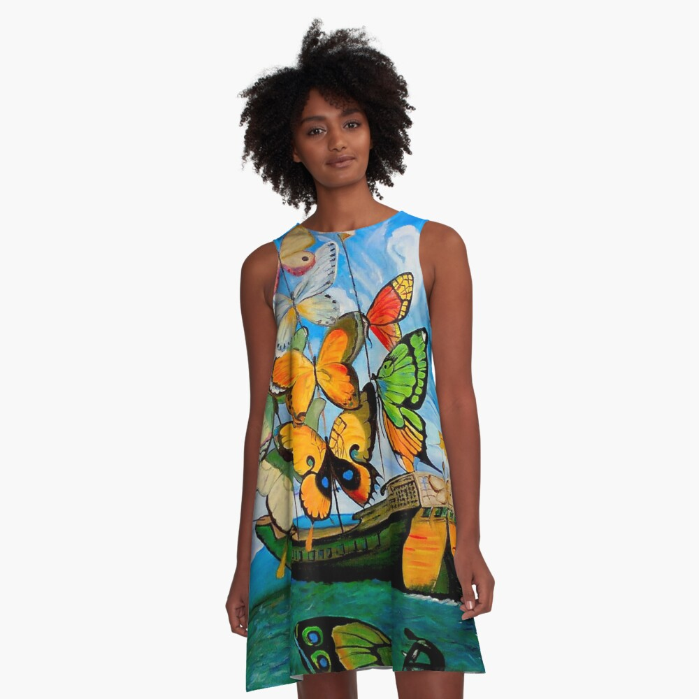 SCHMETTERLING LIEFERUNG: Vintage Dali abstrakte Malerei drucken A-Linien Kleid