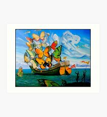 BUTTERFLY SHIP : Vintage Dali Abstract Painting Print Art Print