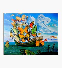 BUTTERFLY SHIP : Vintage Dali Abstract Painting Print Photographic Print