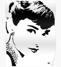 Audrey Simply Beautiful in Black and White Poster