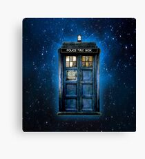 Phone booth with Yellow stained glass windows Canvas Print