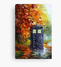 Blue Phone booth with autumn views Canvas Print