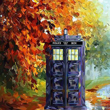 Blue Phone booth with autumn views by NadiyaArt
