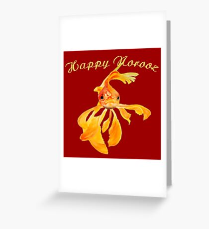 Happy Norooz Persian New Year Goldfish Isolated Greeting Card