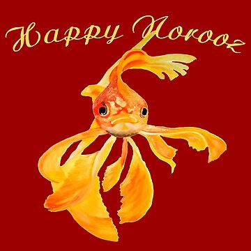 Happy Norooz Persian New Year Goldfish Isolated by taiche