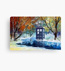 Blue Phone booth with winter views Canvas Print