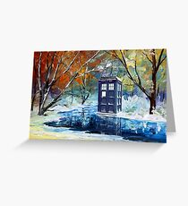 Blue Phone booth with winter views Greeting Card