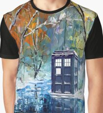 Blue Phone booth with winter views Graphic T-Shirt