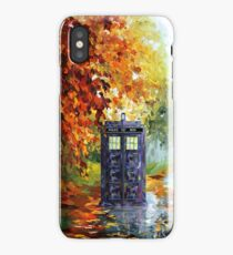 Blue Phone booth with autumn views iPhone Case/Skin