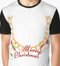 Gold Necklace santa clause and snowman merry christmas  Graphic T-Shirt