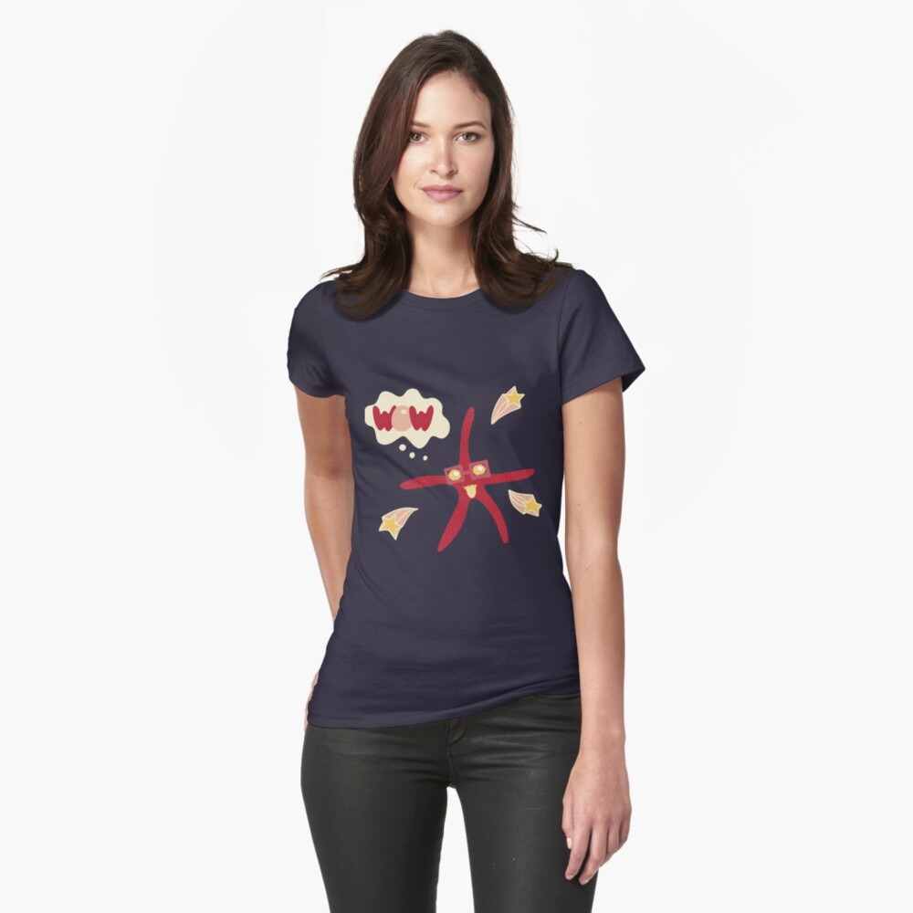 Lovely illustration with a starfish. Womens T-Shirt Front