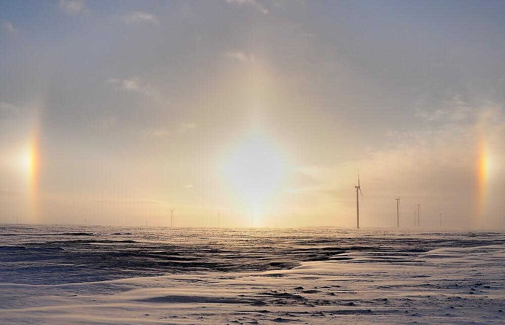 Sun Dogs on The Wind Farm by Geoffrey