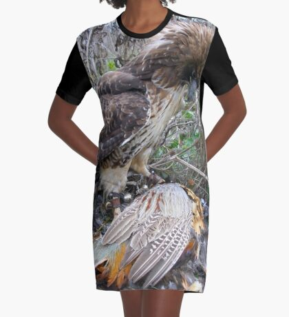 Red Tail Hawk and Pheasant  Graphic T-Shirt Dress