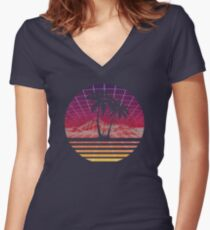 Modern Retro 80s Outrun Sunset Palm Tree Silhouette Original Women's Fitted V-Neck T-Shirt
