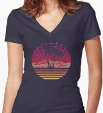 Moderne Retro 80er Jahre Outrun Sunset Palm Tree Silhouette - Original Tailliertes T-Shirt mit V-Ausschnitt