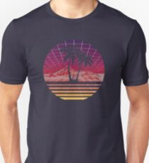 Modern Retro 80s Outrun Sunset Palm Tree Silhouette - Original Slim Fit T-Shirt