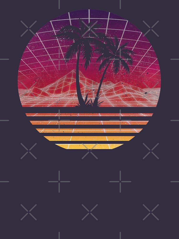 Moderne Retro 80er Jahre Outrun Sunset Palm Tree Silhouette - Original von RetroRoy