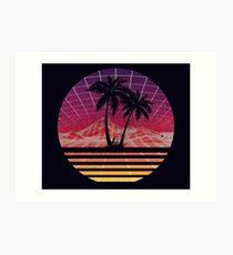 Modern Retro 80s Outrun Sunset Palm Tree Silhouette Original Art Print