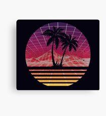 Modern Retro 80s Outrun Sunset Palm Tree Silhouette Original Canvas Print