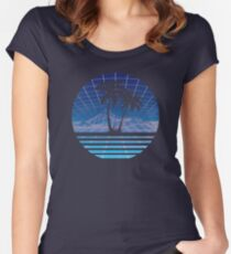 Modern Retro 80s Outrun Sunset Palm Tree Silhouette Blue Women's Fitted Scoop T-Shirt