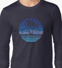 Modern Retro 80s Outrun Sunset Palm Tree Silhouette Blue Long Sleeve T-Shirt
