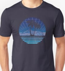 Modern Retro 80s Outrun Sunset Palm Tree Silhouette - Blue Slim Fit T-Shirt