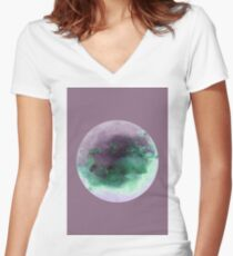 THETYS MOON WATERCOLOR MIXEDMEDIA Women's Fitted V-Neck T-Shirt