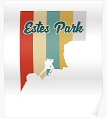 Retro Estes Park Mountain Hiking T-Shirt Poster