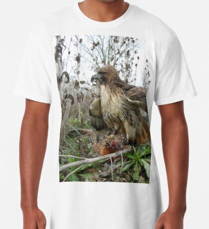 Red Tailed Hawk on a Pheasant Long T-Shirt
