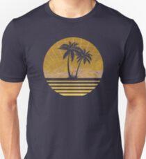 Modern Retro 80s Outrun Sunset Palm Tree Silhouette Gold Unisex T-Shirt