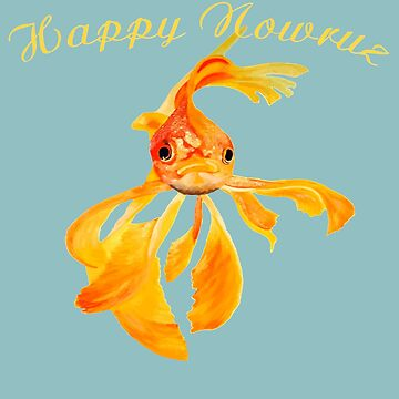 Happy Nowruz Persian New Year Goldfish Isolated by taiche