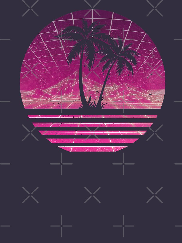 Modern Retro 80s Outrun Sunset Palm Tree Silhouette - Magenta by RetroRoy