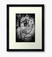 Malta – Bench BW Framed Print
