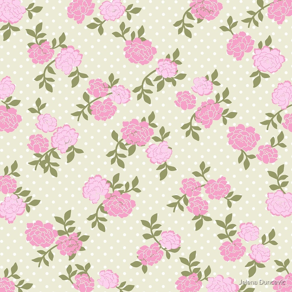Shabby Chic, Polka Dots, Roses - Beige Pink Green  by sitnica