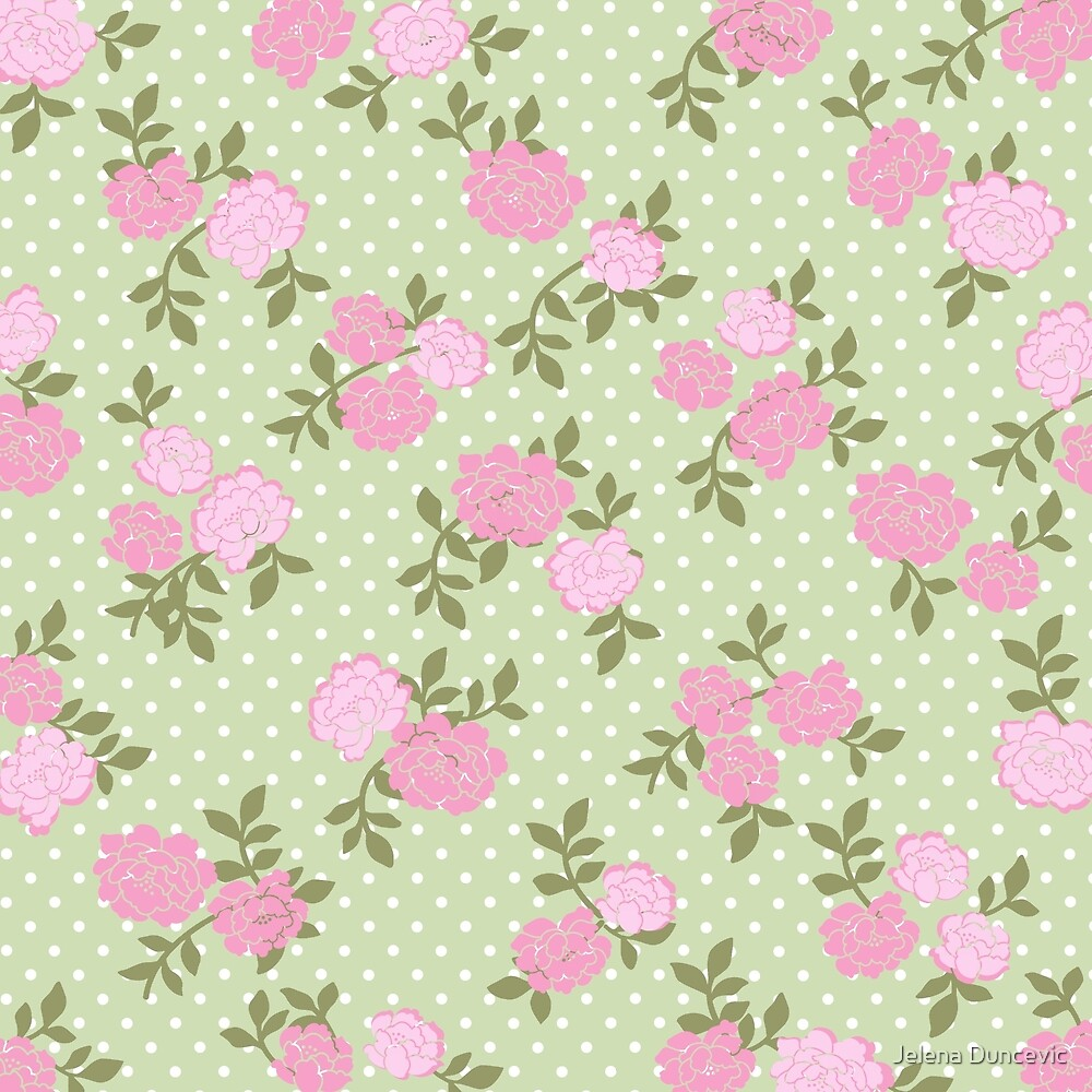 Shabby Chic, Polka Dots, Roses - Pink Green  by sitnica