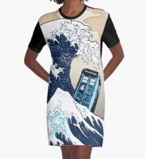 Phone booth vs The Great wave Graphic T-Shirt Dress