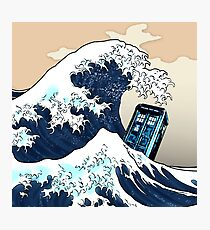 Phone booth vs The Great wave Photographic Print
