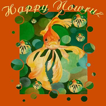Happy Nowruz Persian New Year Goldfish In Green Sea by taiche